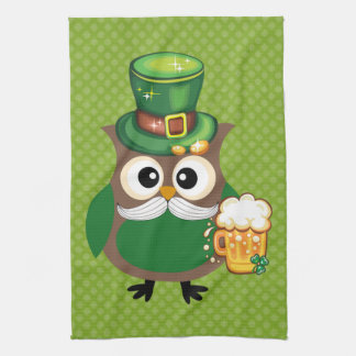 St. Patrick's Day Owl Tea Towel