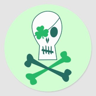 St Patrick s Day Pirate Round Sticker