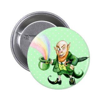 St Patrick s Day rainbow leprechaun Button