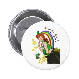 St Patrick s Day - Redhead Lady Leprechaun Pin
