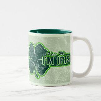 St. Patrick's 'Kiss Me' Shamrock Grunge Mug