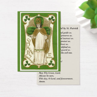 St. Patrick Shamrocks Bishop Prayer Business Card