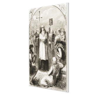 St. Patrick showing the people of Ireland the Four Canvas Print