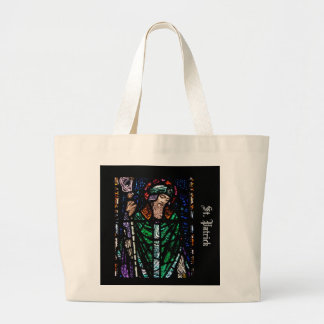 St. Patrick Stained Glass Large Tote Bag