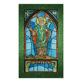 St. Patrick Stained Glass Reproduction Poster