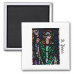 St. Patrick Stained Glass Square Magnet