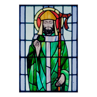 st patrick stained glass window poster
