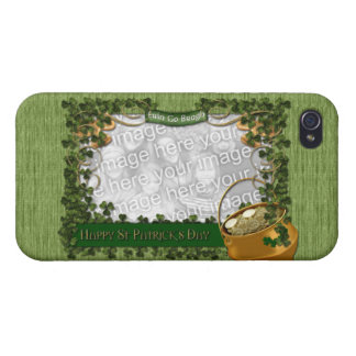 St Patricks - ADD YOUR PHOTO - Shamrock Frame iPhone 4 Cover