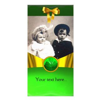 ST PATRICK'S CELTIC HEART SHAMROCK PHOTO TEMPLATE CUSTOMIZED PHOTO CARD