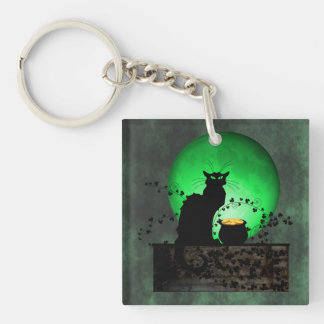St. Patrick's Chat Noir Single-Sided Square Acrylic Key Ring