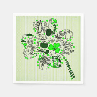 St. Patrick's Clover Fun Word Art Pattern Disposable Napkin