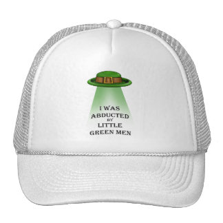 st. patrick's day, abducted by little green men mesh hat