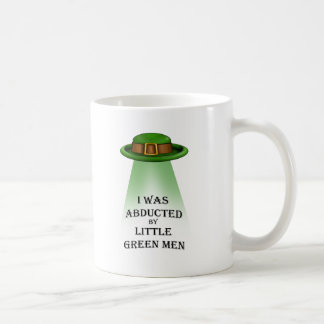 st. patrick's day, abducted by little green men mugs