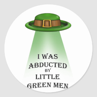 st. patrick's day, abducted by little green men sticker