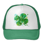 St. Patricks Day Abstract Shamrock Art Hats