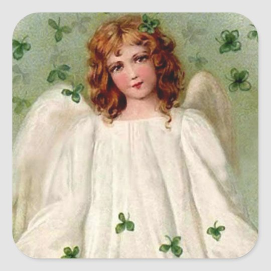 St. Patrick's Day Angel and Shamrocks on Stickers