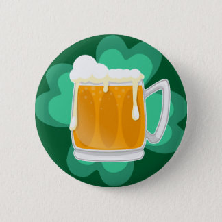 St Patricks Day beer and shamrock 6 Cm Round Badge