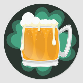 St Patricks Day beer and shamrock Classic Round Sticker