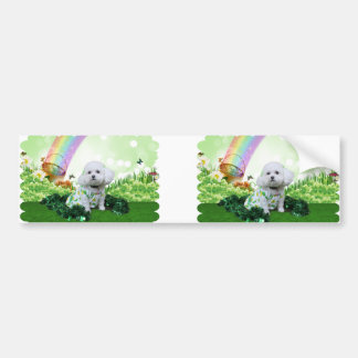 St Patrick's Day - Bichon Frise - Mia Car Bumper Sticker