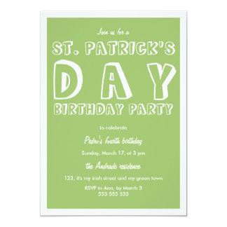 St Patricks Day Birthday Party 40th Retro Green Invites