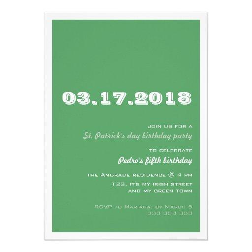 St Patricks Day Birthday Party 50th Retro Green Cards