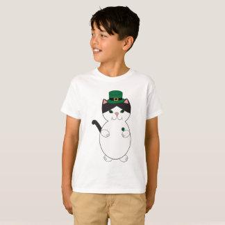 St Patricks Day Black White Kitty Cat Green T-Shirt