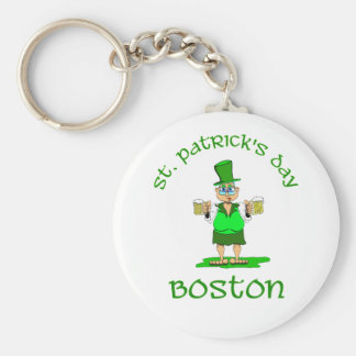 st patricks day boston gladys basic round button key ring