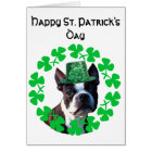 St Patrick's Day Boston Terrier greeting card
