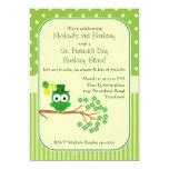 St. Patrick's Day Boy's Birthday Owl 13 Cm X 18 Cm Invitation Card