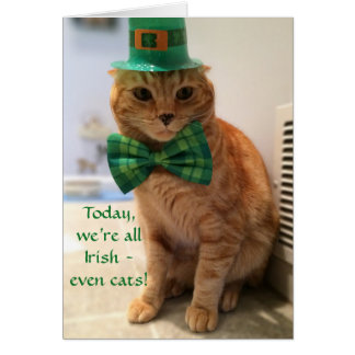 St. Patrick's Day Card featuring a cute cat