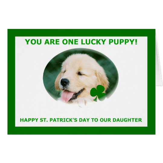 St. Patrick's Day Card for Our Daughter, Golden Re