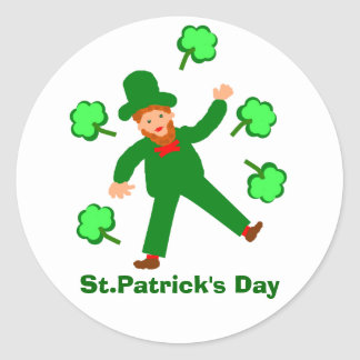 St.Patrick's Day cards add name front Round Sticker