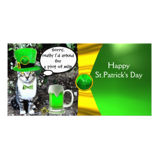 ST PATRICK'S DAY CAT,GREEN IRISH BEER ,GOLD BOW PHOTO GREETING CARD