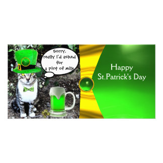 ST PATRICK'S DAY CAT,GREEN IRISH BEER ,GOLD BOW PICTURE CARD