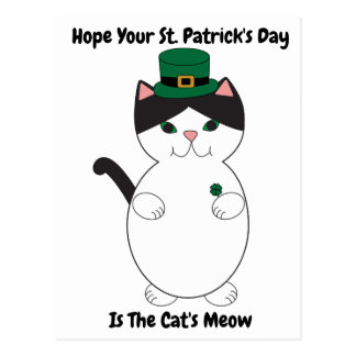 St Patricks Day Cat Shamrock Green Personalise Postcard