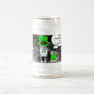 ST PATRICK'S  DAY CAT  WITH GREEN IRISH BEER BEER STEINS
