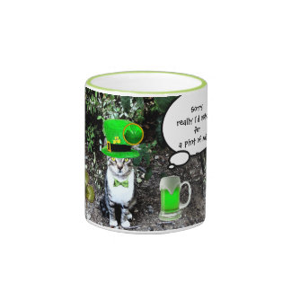 ST PATRICK'S  DAY CAT  WITH GREEN IRISH BEER COFFEE MUGS