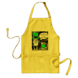 ST PATRICK'S  DAY CAT  WITH GREEN IRISH BEER STANDARD APRON