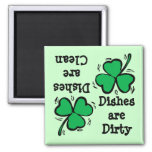 St. Patrick's Day  Clover Clean Dirty Diswasher Refrigerator Magnet