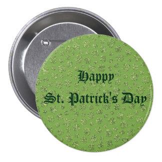 St. Patrick's Day Clover Leaf Button 3 Inch Round Button