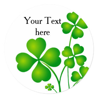 St. Patrick's Day Clover / Shamrocks + your ideas 5.25x5.25 Square Paper Invitation Card