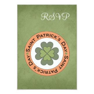 St Patrick's Day Clover Stamp Wedding RSVP Card 9 Cm X 13 Cm Invitation Card