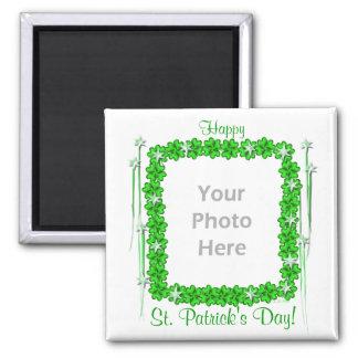 St. Patricks Day Clover Stars (photo frame) Square Magnet