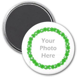 St Patricks Day Clover Stars round photo frame Fridge Magnet