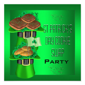 St Patrick's Day Cookie Swap Lime Green Party 13 Cm X 13 Cm Square Invitation Card
