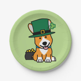 St. Patrick's Day Corgi Leprechaun Dog Puppy Doggy 7 Inch Paper Plate