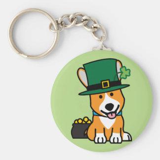 St. Patrick's Day Corgi Leprechaun Dog Puppy Doggy Basic Round Button Key Ring