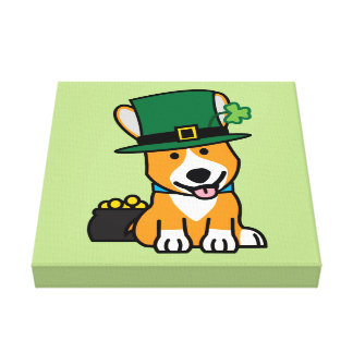 St. Patrick's Day Corgi Leprechaun Dog Puppy Doggy Canvas Print