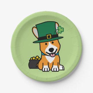 St. Patrick's Day Corgi Leprechaun Dog Puppy Doggy Paper Plate