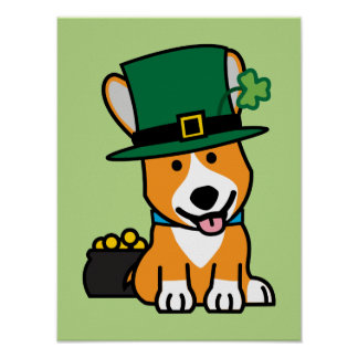 St. Patrick's Day Corgi Leprechaun Dog Puppy Doggy Poster